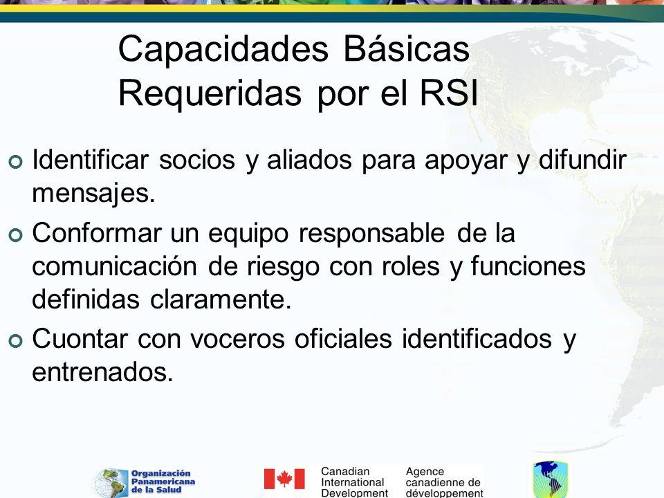 Capacidades Básicas Requeridas por el RSI Identificar socios y aliados para apoyar y difundir mensajes. Conformar un equipo responsable de la comunica