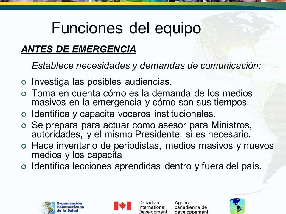 Funciones del equipo ANTES DE EMERGENCIA Establece necesidades y demandas de comunicación: Investiga las posibles audiencias. Toma en cuenta cómo es l
