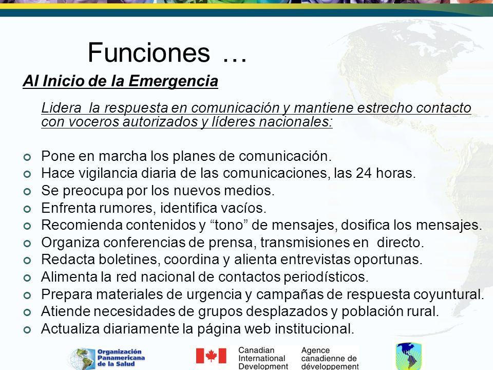 Funciones … Al Inicio de la Emergencia Lidera la respuesta en comunicación y mantiene estrecho contacto con voceros autorizados y líderes nacionales: