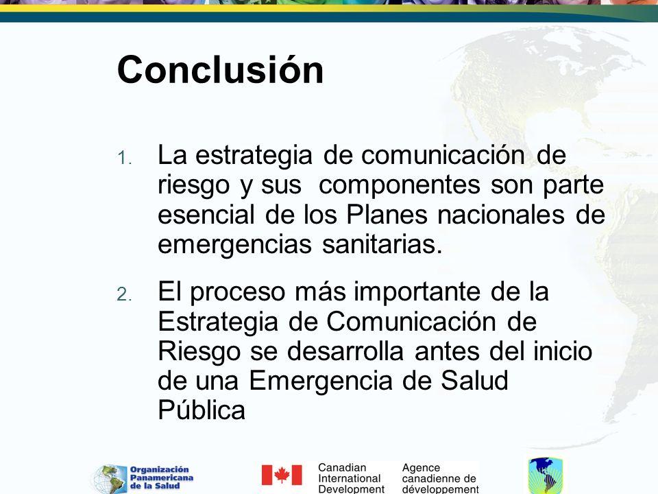 Conclusión 1. La estrategia de comunicación de riesgo y sus componentes son parte esencial de los Planes nacionales de emergencias sanitarias. 2. El p
