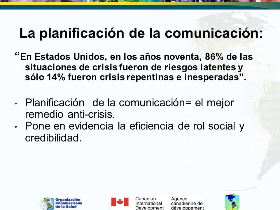 La planificación de la comunicación: En Estados Unidos, en los años noventa, 86% de las situaciones de crisis fueron de riesgos latentes y sólo 14% fu