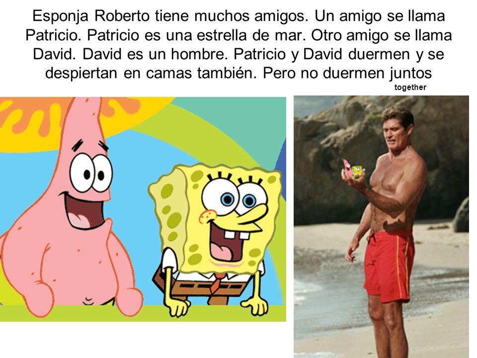 Esponja Roberto tiene muchos amigos. Un amigo se llama Patricio. Patricio es una estrella de mar. Otro amigo se llama David. David es un hombre. Patri