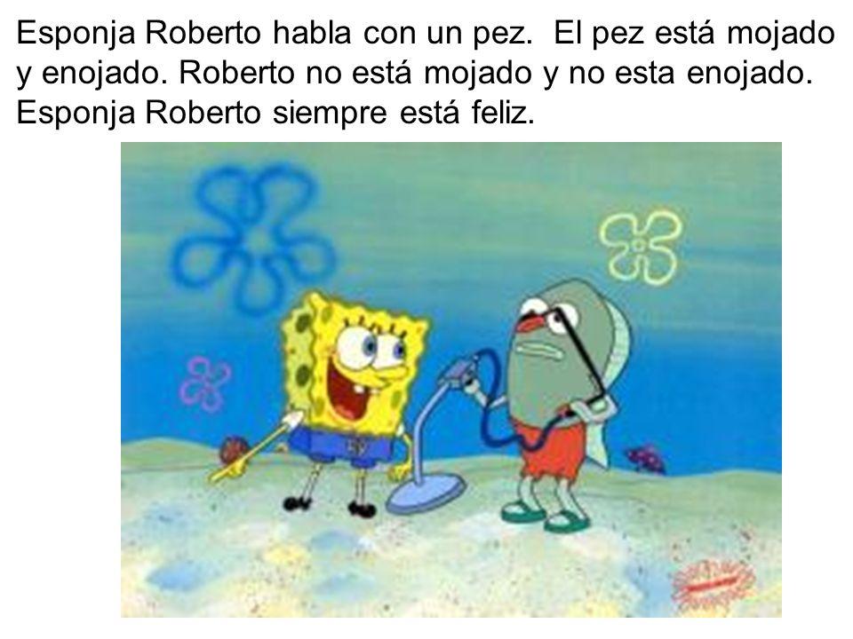 Esponja Roberto habla con un pez. El pez está mojado y enojado. Roberto no está mojado y no esta enojado. Esponja Roberto siempre está feliz.