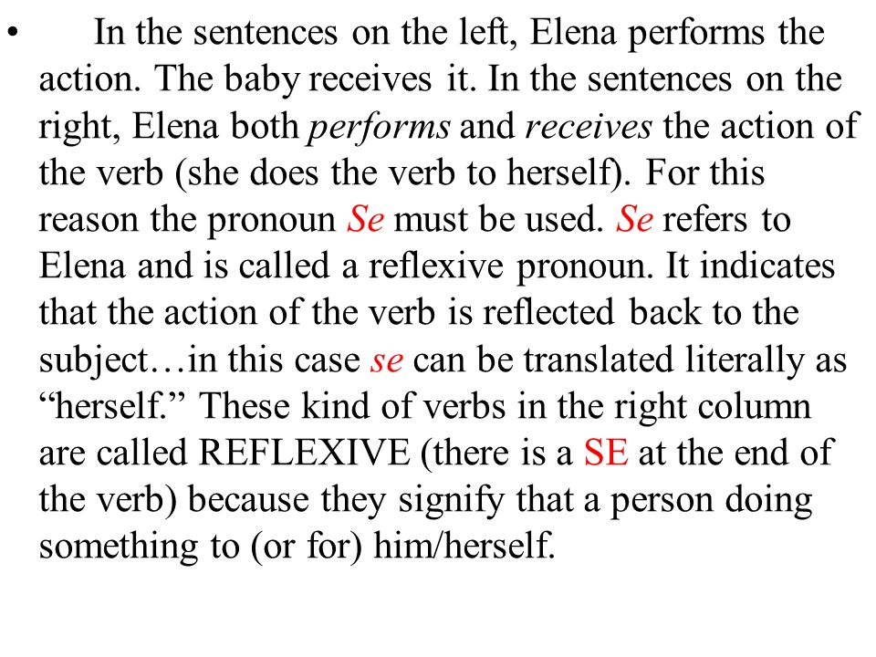 In the sentences on the left, Elena performs the action.