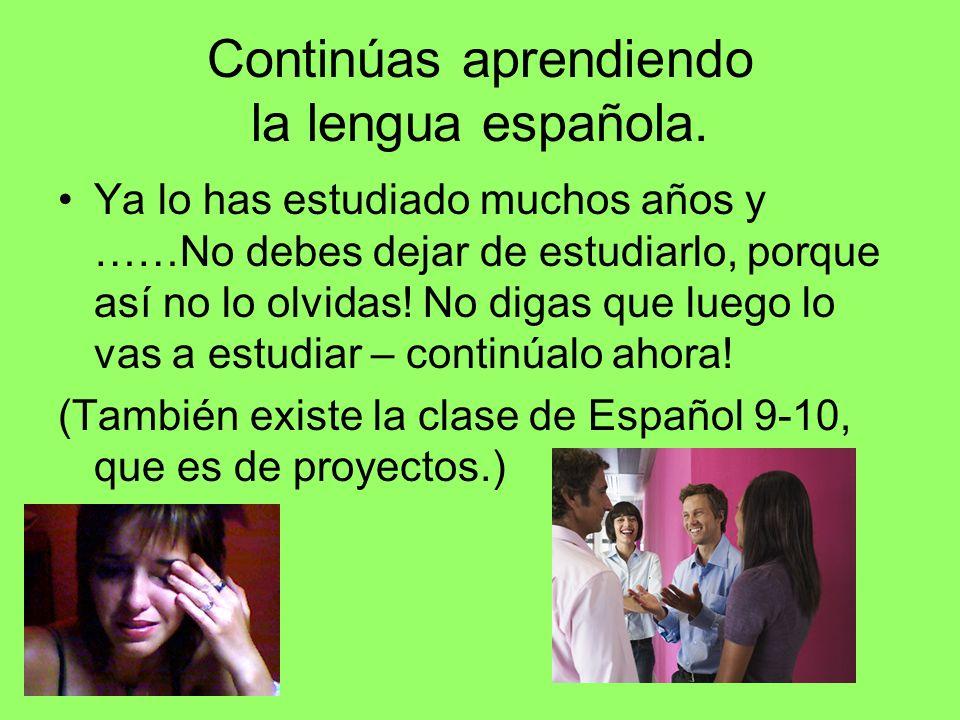 Continúas aprendiendo la lengua española.