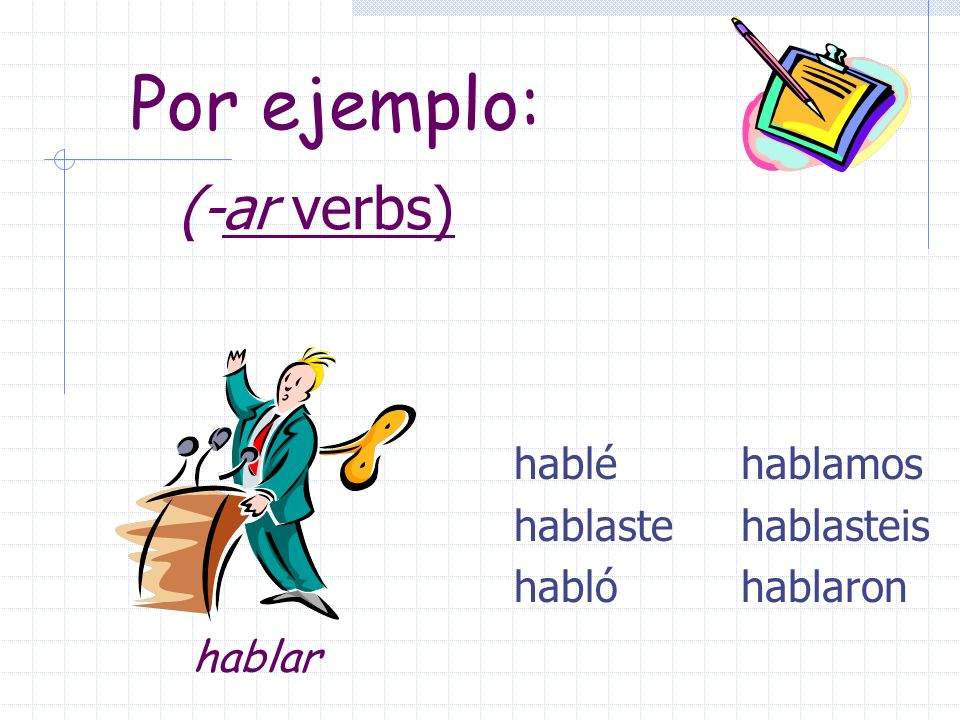 Pretérito endings for -ar verbs are: Yo -é Tu -aste El/Ella/Ud.