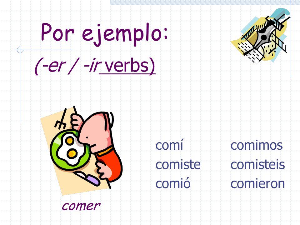 Pretérito endings for –er / -ir verbs are: -í -iste -ió -imos -isteis -ieron