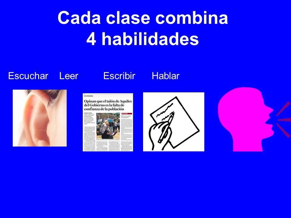 Cada clase combina 4 habilidades Escuchar Leer Escribir Hablar