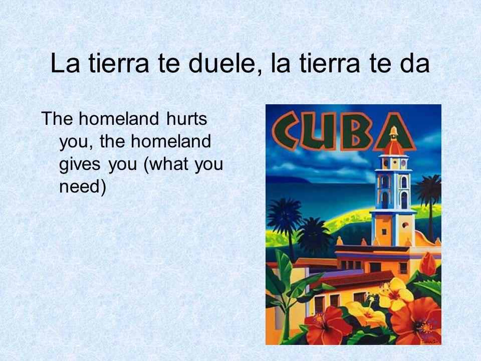 La tierra te duele, la tierra te da The homeland hurts you, the homeland gives you (what you need)