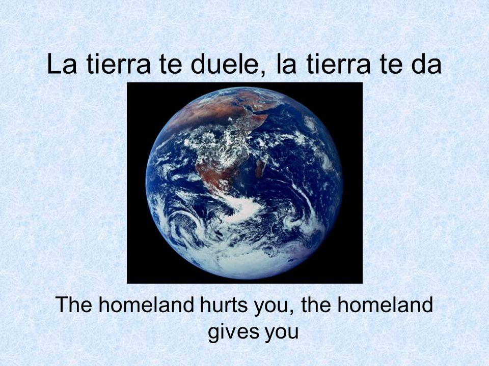 La tierra te duele, la tierra te da The homeland hurts you, the homeland gives you
