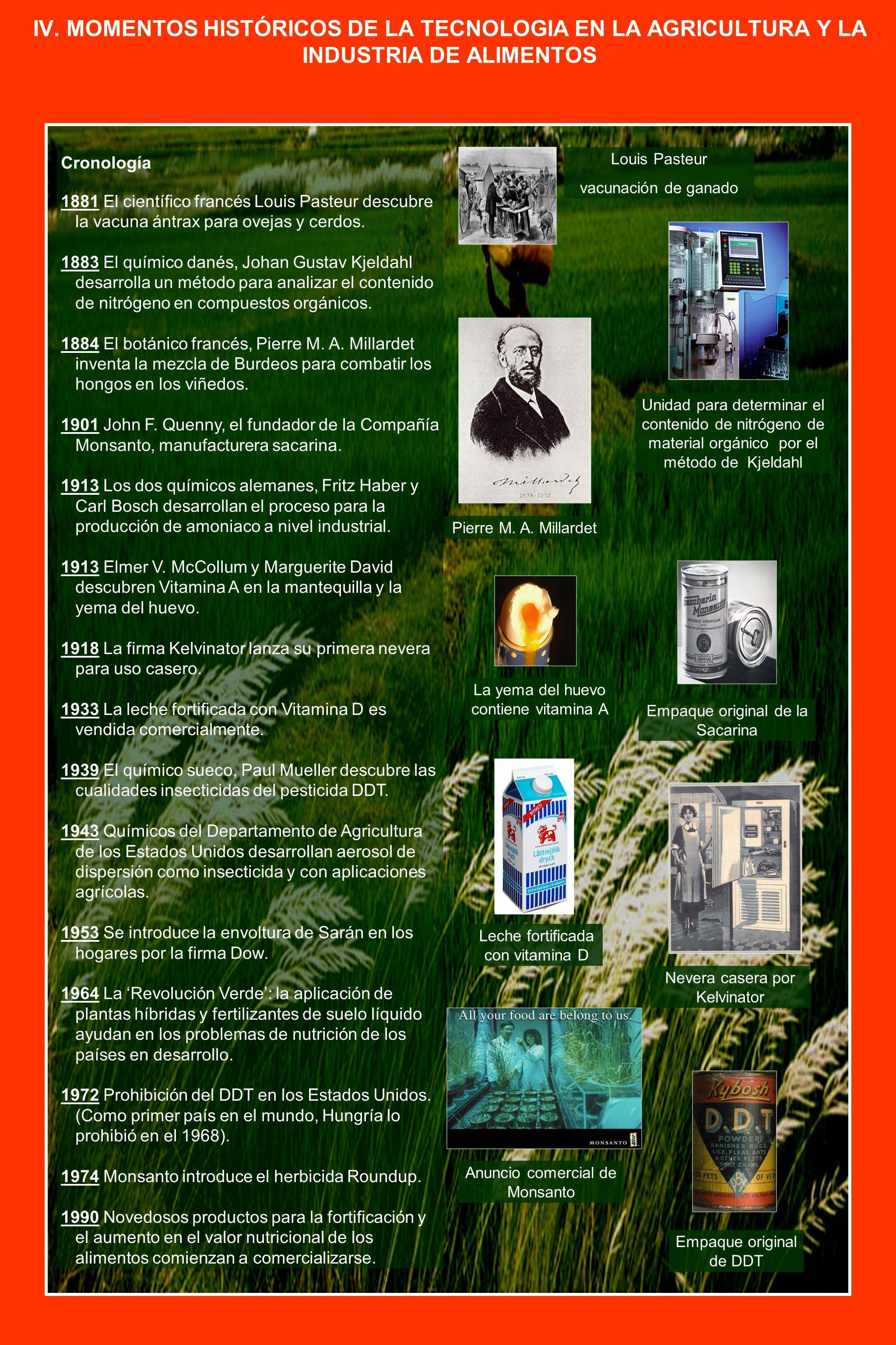 IV. MOMENTOS HISTÓRICOS DE LA TECNOLOGIA EN LA AGRICULTURA Y LA INDUSTRIA DE ALIMENTOS Cronología 1881 El científico francés Louis Pasteur descubre la