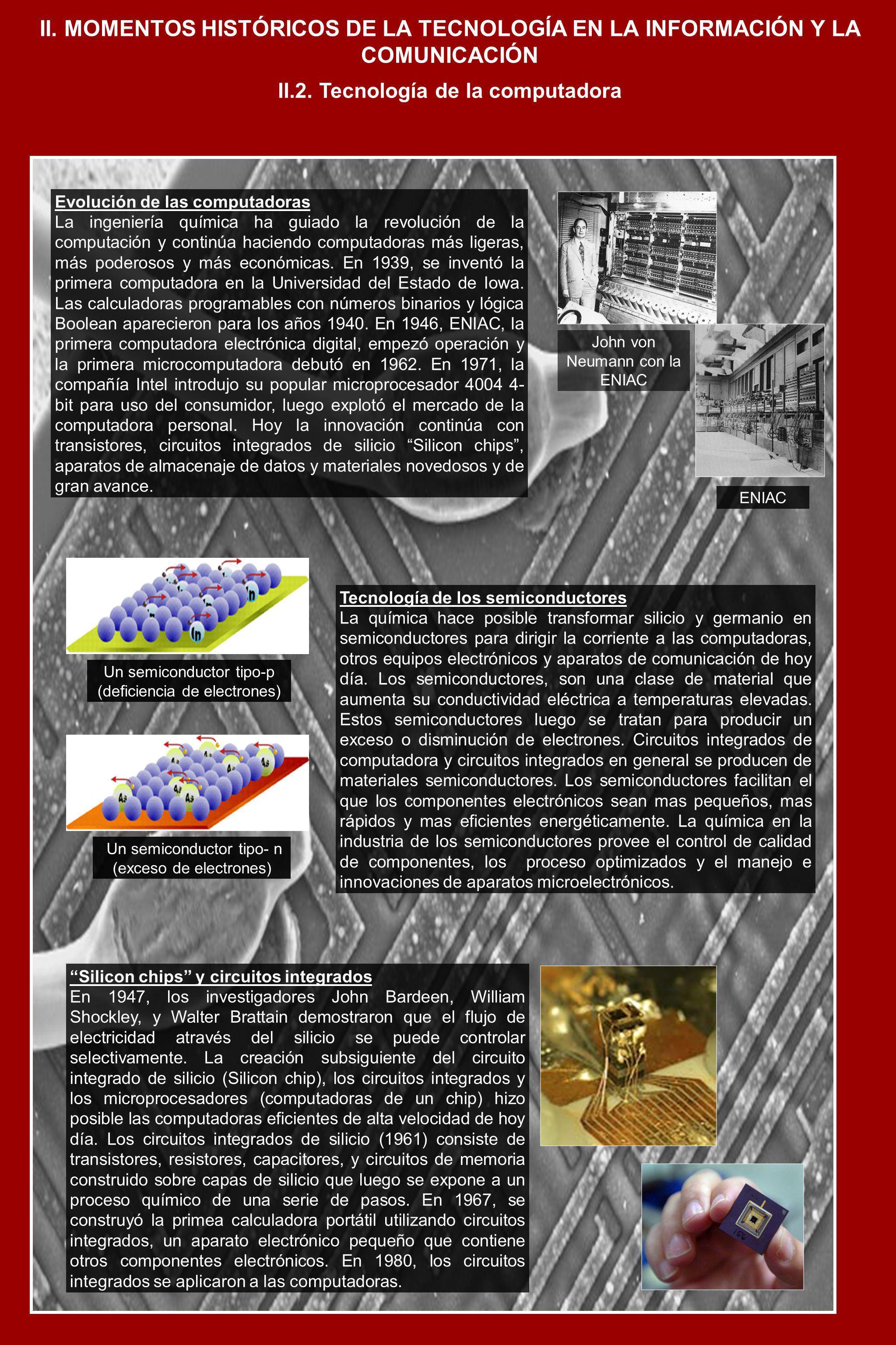 II. MOMENTOS HISTÓRICOS DE LA TECNOLOGÍA EN LA INFORMACIÓN Y LA COMUNICACIÓN Evolución de las computadoras La ingeniería química ha guiado la revoluci