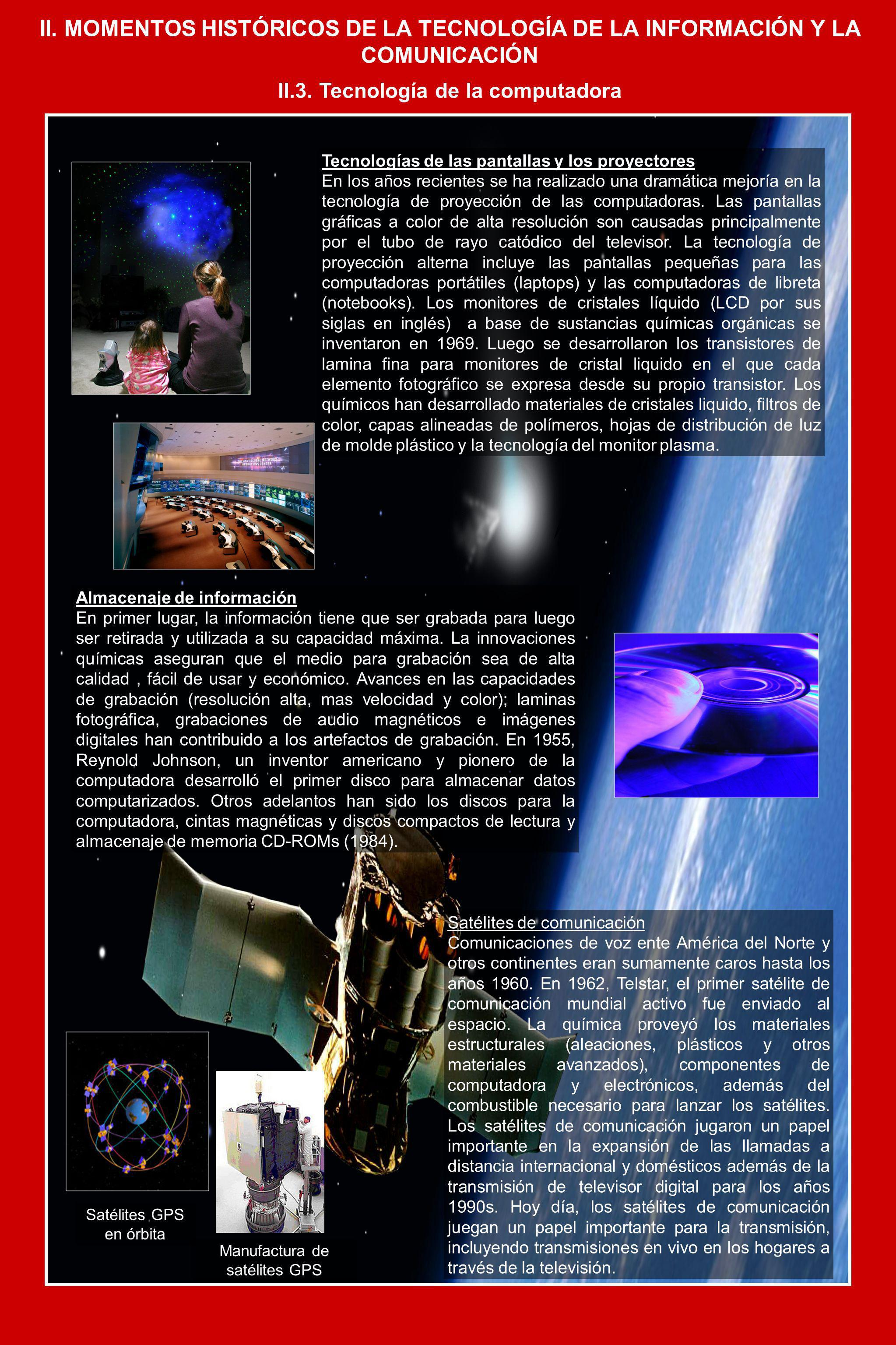II. MOMENTOS HISTÓRICOS DE LA TECNOLOGÍA DE LA INFORMACIÓN Y LA COMUNICACIÓN II.3. Tecnología de la computadora Tecnologías de las pantallas y los pro