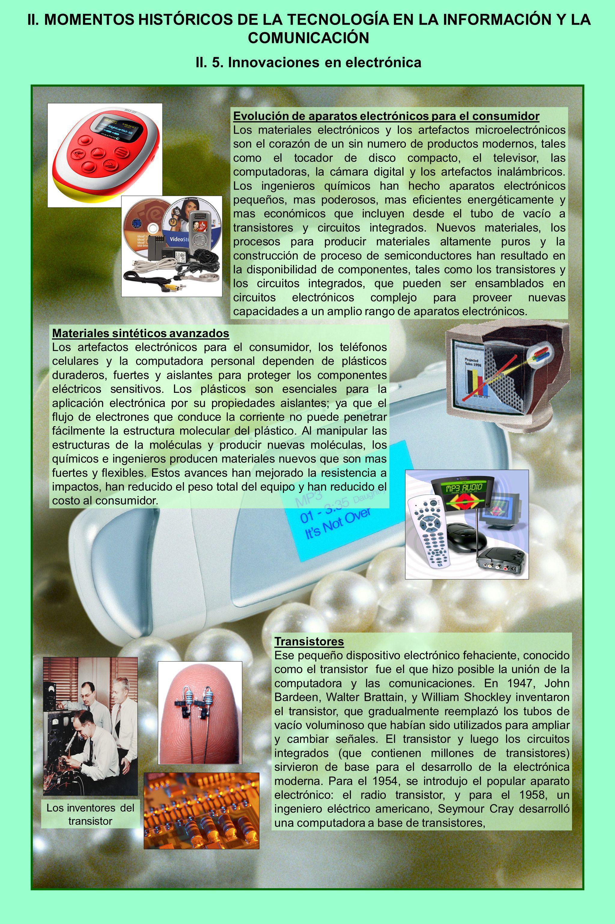 II. MOMENTOS HISTÓRICOS DE LA TECNOLOGÍA EN LA INFORMACIÓN Y LA COMUNICACIÓN II. 5. Innovaciones en electrónica Evolución de aparatos electrónicos par