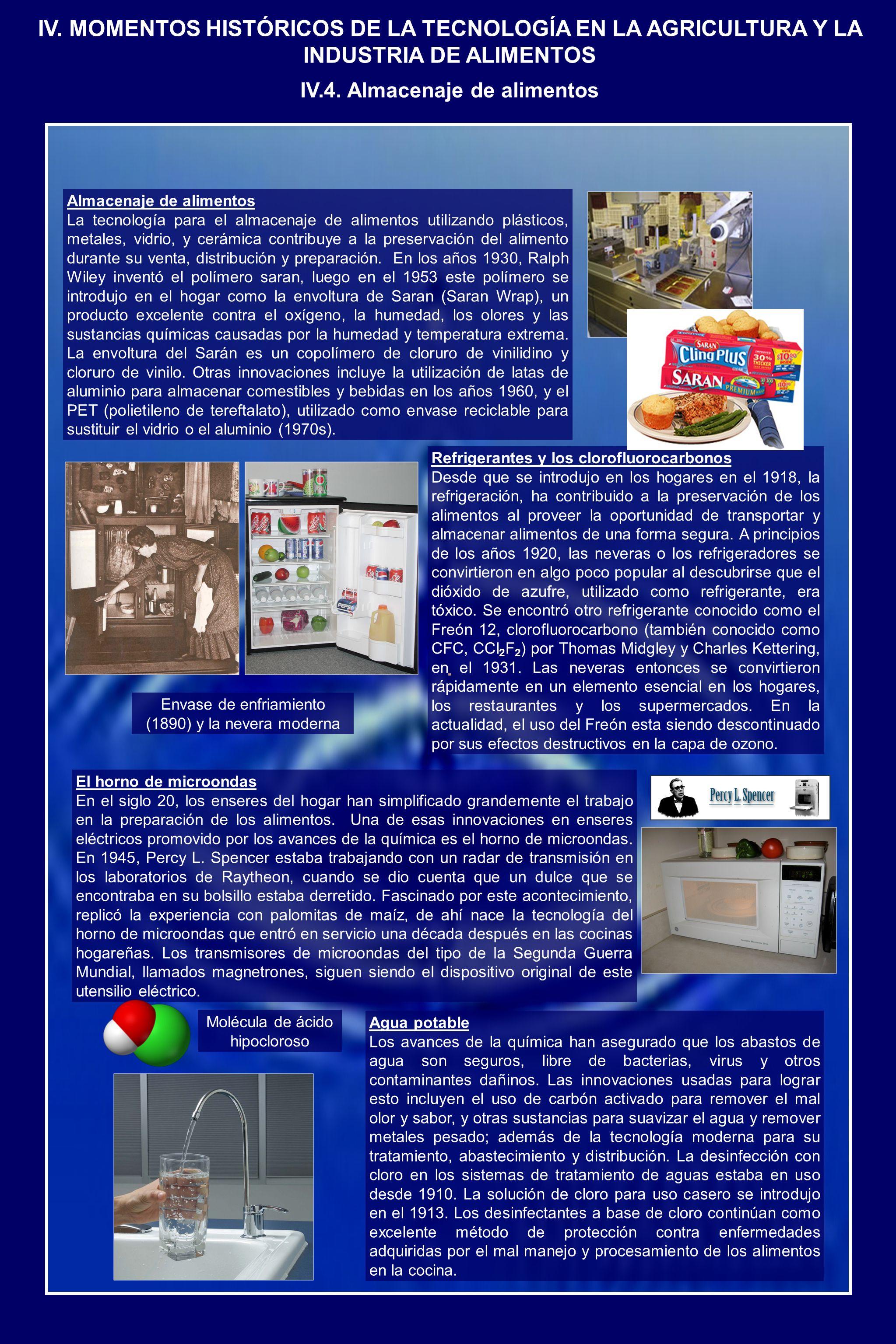 Almacenaje de alimentos La tecnología para el almacenaje de alimentos utilizando plásticos, metales, vidrio, y cerámica contribuye a la preservación del alimento durante su venta, distribución y preparación.