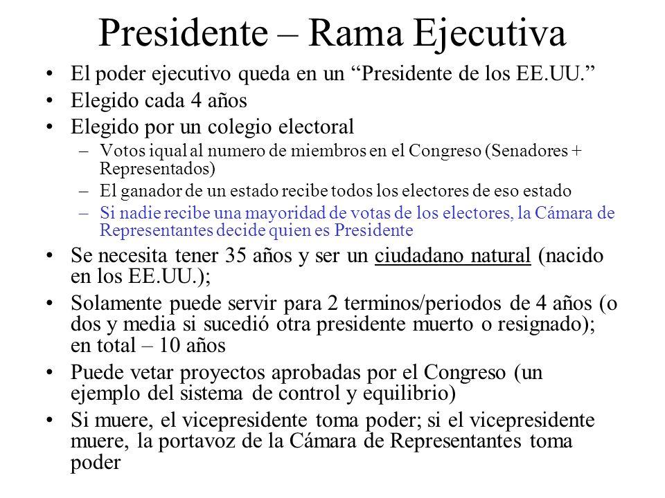 Presidente – Rama Ejecutiva El poder ejecutivo queda en un Presidente de los EE.UU. Elegido cada 4 años Elegido por un colegio electoral –Votos iqual