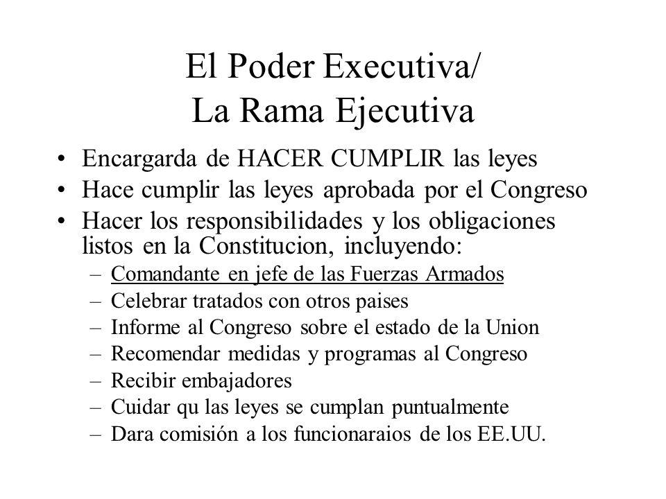 El Poder Executiva/ La Rama Ejecutiva Encargarda de HACER CUMPLIR las leyes Hace cumplir las leyes aprobada por el Congreso Hacer los responsibilidade