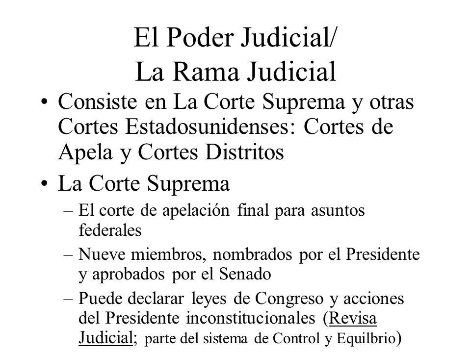 El Poder Judicial/ La Rama Judicial Consiste en La Corte Suprema y otras Cortes Estadosunidenses: Cortes de Apela y Cortes Distritos La Corte Suprema