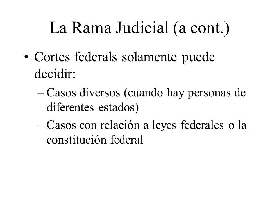 La Rama Judicial (a cont.) Cortes federals solamente puede decidir: –Casos diversos (cuando hay personas de diferentes estados) –Casos con relación a