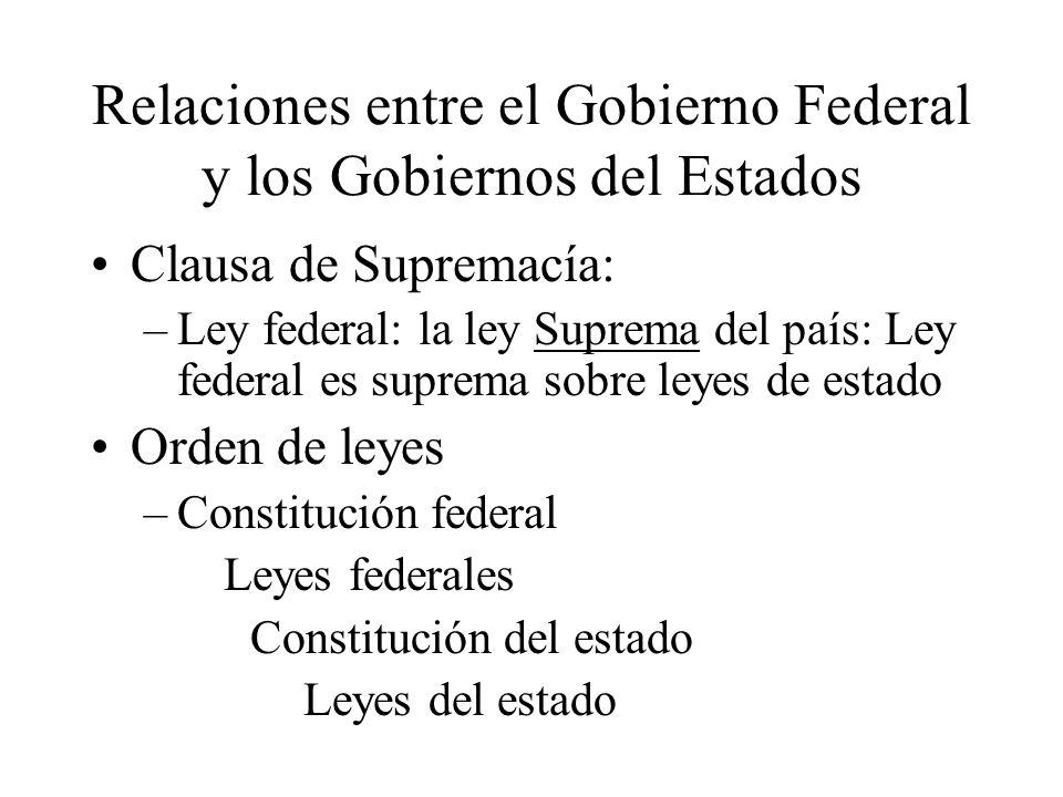 Relaciones entre el Gobierno Federal y los Gobiernos del Estados Clausa de Supremacía: –Ley federal: la ley Suprema del país: Ley federal es suprema s