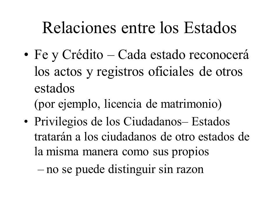 Relaciones entre los Estados Fe y Crédito – Cada estado reconocerá los actos y registros oficiales de otros estados (por ejemplo, licencia de matrimon
