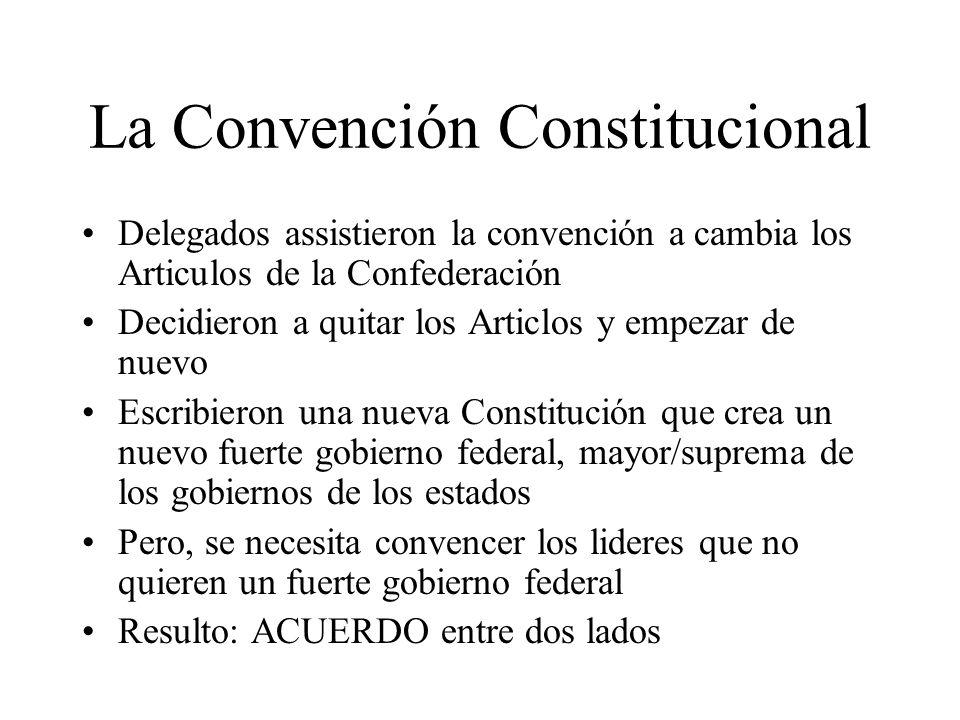 La Convención Constitucional Delegados assistieron la convención a cambia los Articulos de la Confederación Decidieron a quitar los Articlos y empezar