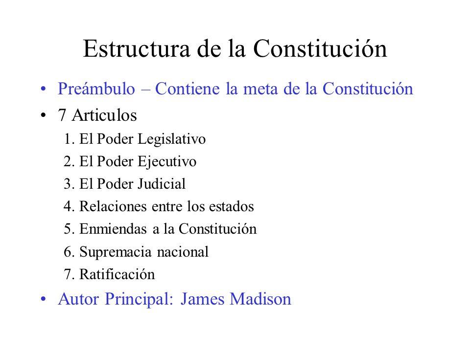 Estructura de la Constitución Preámbulo – Contiene la meta de la Constitución 7 Articulos 1. El Poder Legislativo 2. El Poder Ejecutivo 3. El Poder Ju