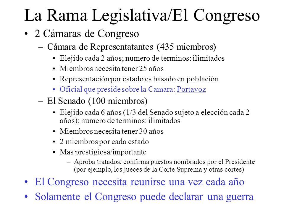 La Rama Legislativa (a cont.) El Congreso solamente tiene poderes enumerados (facultadades delegadas al Congreso) No se puede establecer leyes si no tiene relacion a sus poderes enumerados.