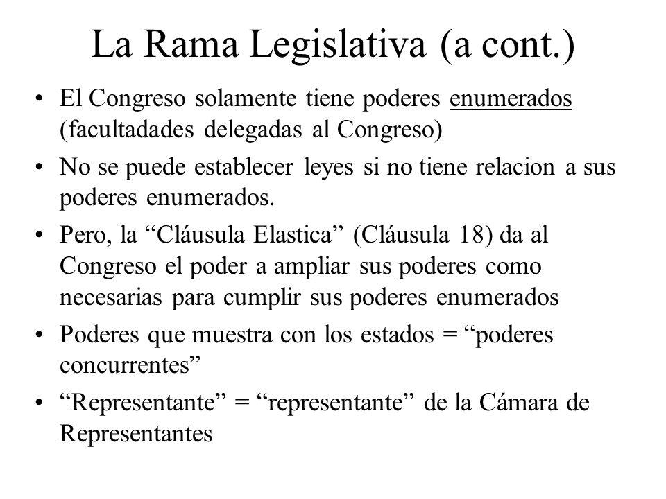 La Rama Legislativa (a cont.) El Congreso solamente tiene poderes enumerados (facultadades delegadas al Congreso) No se puede establecer leyes si no t