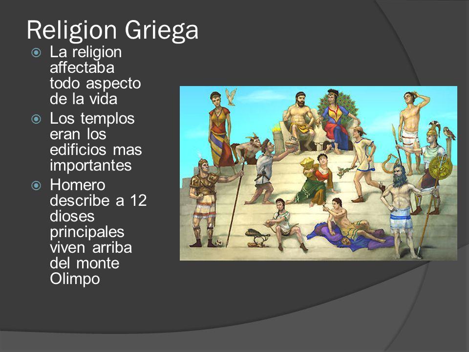 Religion Griega La religion affectaba todo aspecto de la vida Los templos eran los edificios mas importantes Homero describe a 12 dioses principales v
