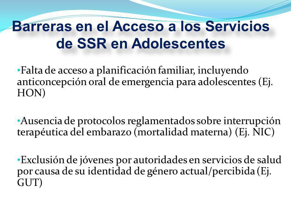 Falta de acceso a planificación familiar, incluyendo anticoncepción oral de emergencia para adolescentes (Ej.