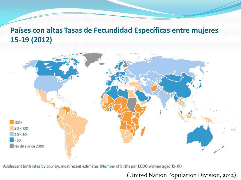 Países con altas Tasas de Fecundidad Específicas entre mujeres 15-19 (2012) (United Nation Population Division, 2012).