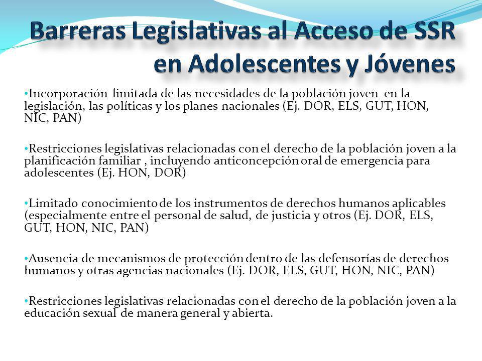 Incorporación limitada de las necesidades de la población joven en la legislación, las políticas y los planes nacionales (Ej.