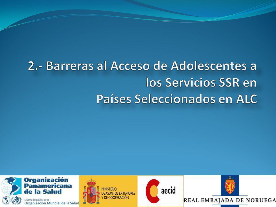 EP: En Proceso Servicios de Salud para Adolescentes y Jovenes Pa í s Se usa el Sistema Inform á tico Adolescente (SIA).