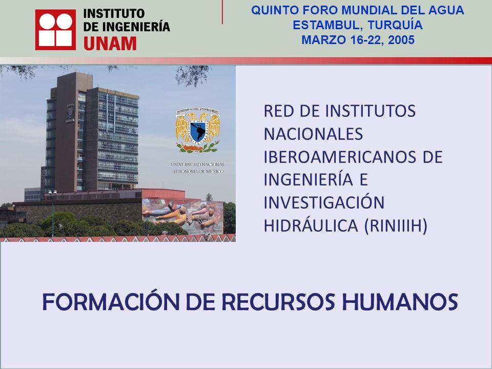 RED DE INSTITUTOS NACIONALES IBEROAMERICANOS DE INGENIERÍA E INVESTIGACIÓN HIDRÁULICA (RINIIIH) FORMACIÓN DE RECURSOS HUMANOS QUINTO FORO MUNDIAL DEL AGUA ESTAMBUL, TURQUÍA MARZO 16-22, 2005