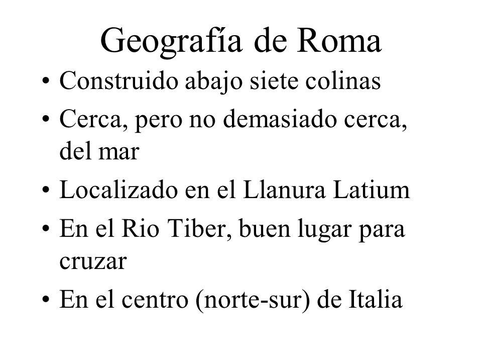 Geografía de Roma Construido abajo siete colinas Cerca, pero no demasiado cerca, del mar Localizado en el Llanura Latium En el Rio Tiber, buen lugar p