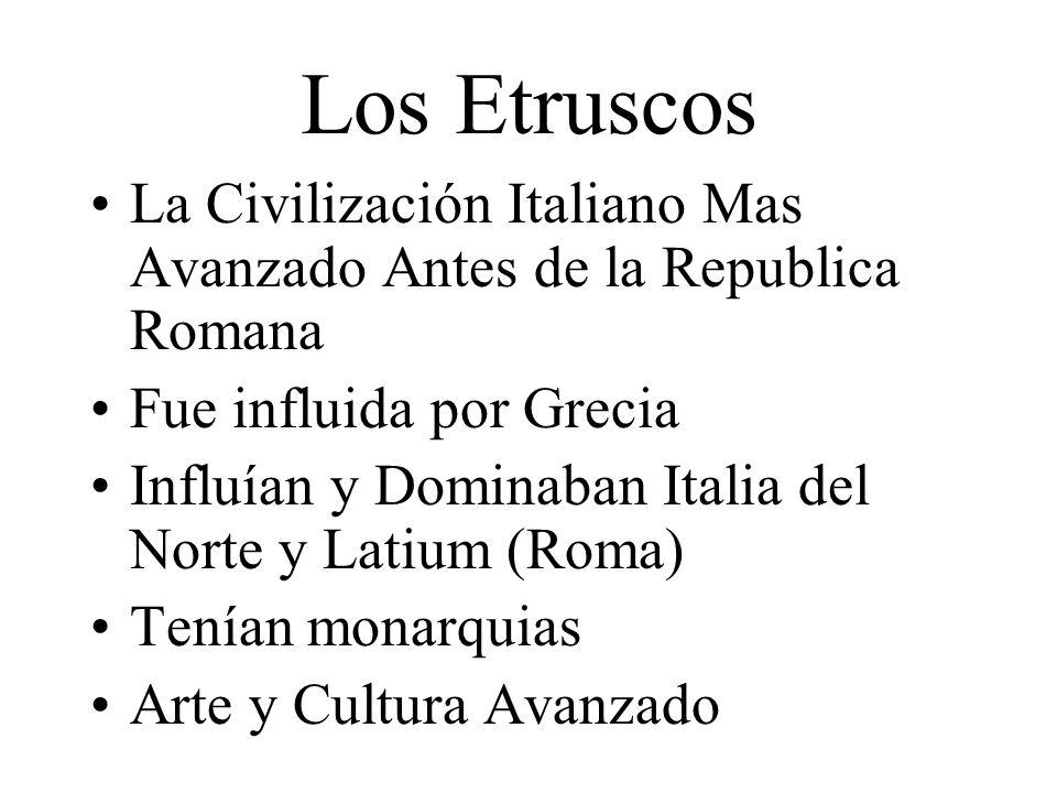 Republica Romana Roma Anciana (753-509 A.C.) Durante el último parte de esto, fue influido/controlado por los Etruscos 509 A.C.