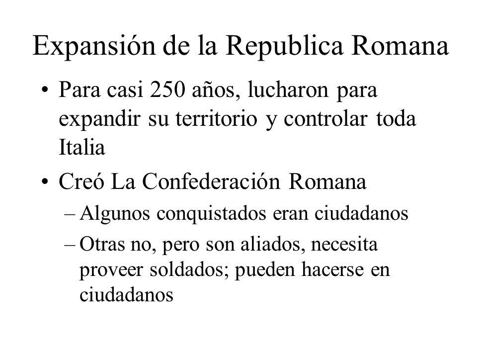 Expansión de la Republica Romana Para casi 250 años, lucharon para expandir su territorio y controlar toda Italia Creó La Confederación Romana –Alguno