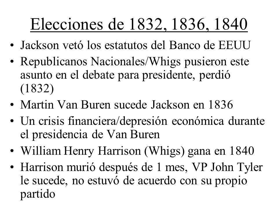 Elecciones de 1832, 1836, 1840 Jackson vetó los estatutos del Banco de EEUU Republicanos Nacionales/Whigs pusieron este asunto en el debate para presi