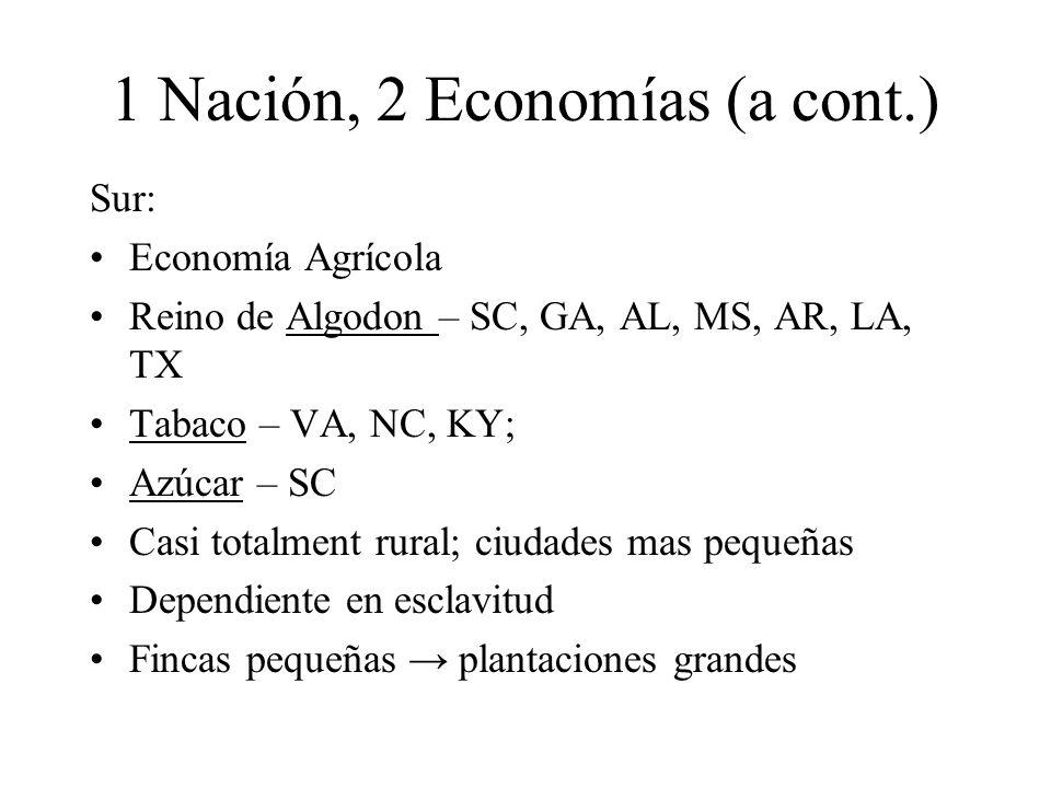 1 Nación, 2 Economías (a cont.) Sur: Economía Agrícola Reino de Algodon – SC, GA, AL, MS, AR, LA, TX Tabaco – VA, NC, KY; Azúcar – SC Casi totalment r