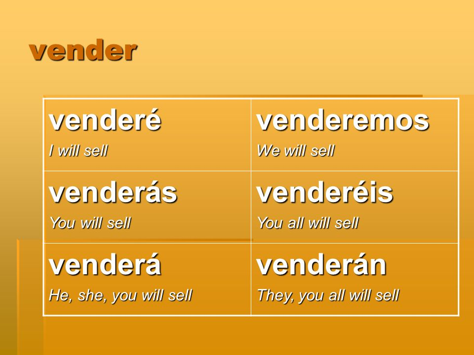 vender venderé I will sell venderemos We will sell venderás You will sell venderéis You all will sell venderá He, she, you will sell venderán They, you all will sell