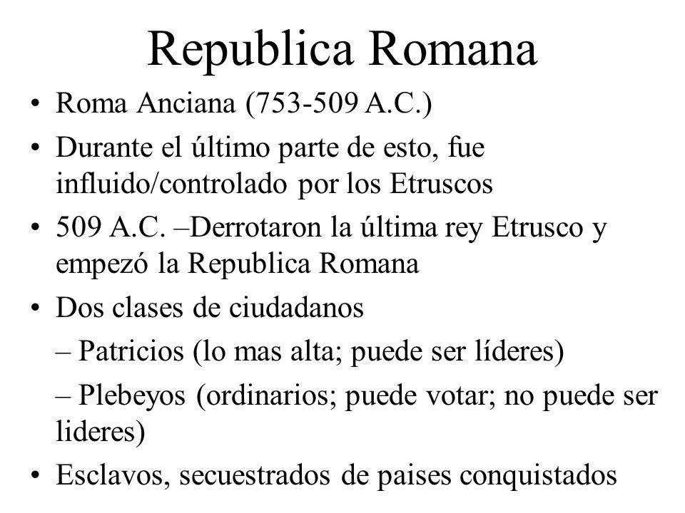 Republica Romana Roma Anciana (753-509 A.C.) Durante el último parte de esto, fue influido/controlado por los Etruscos 509 A.C. –Derrotaron la última