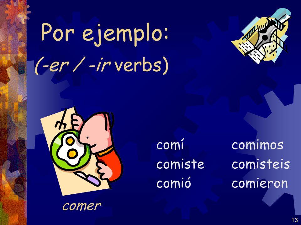 12 –er / -ir verbs -í -iste -ió -imos -isteis -ieron