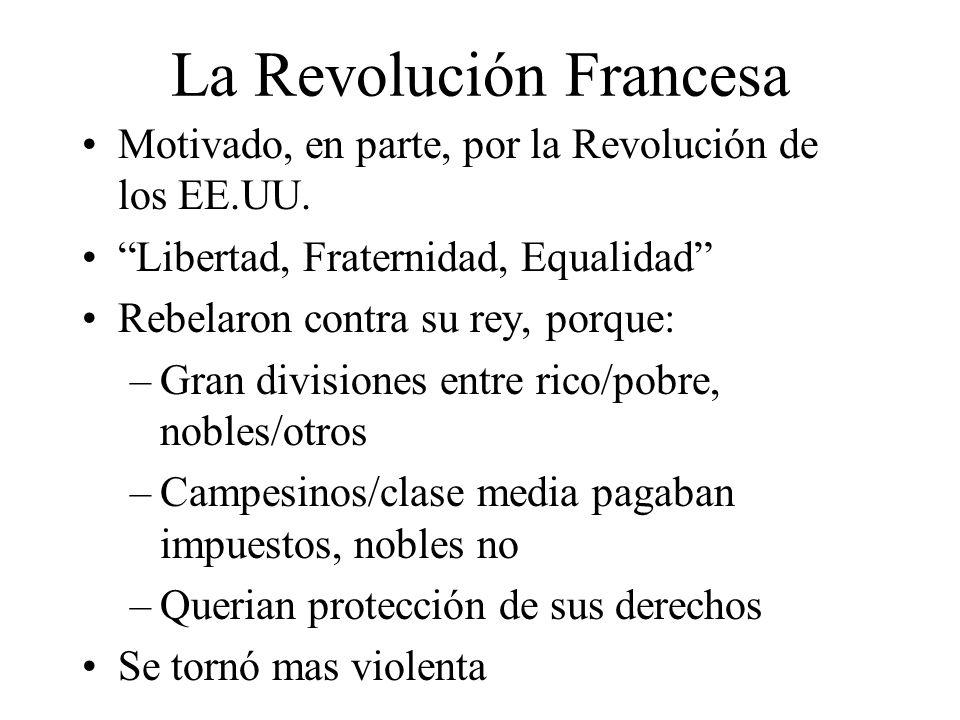 La Revolución Francesa Motivado, en parte, por la Revolución de los EE.UU.