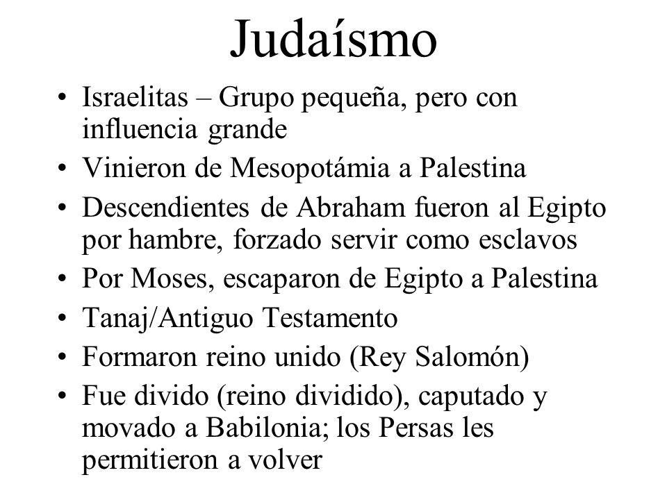 Judaísmo Israelitas – Grupo pequeña, pero con influencia grande Vinieron de Mesopotámia a Palestina Descendientes de Abraham fueron al Egipto por hamb