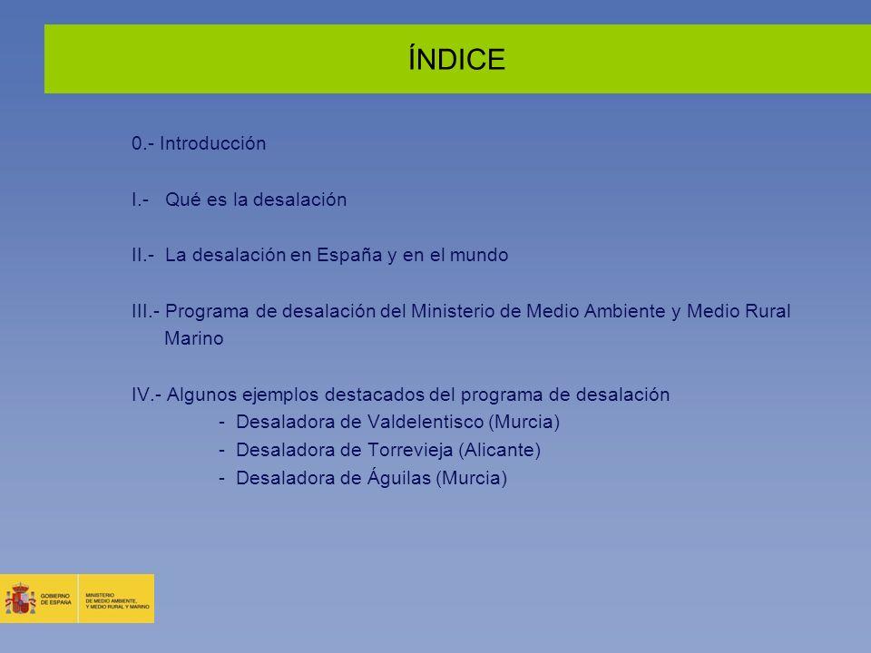ÍNDICE 0.- Introducción I.- Qué es la desalación II.- La desalación en España y en el mundo III.- Programa de desalación del Ministerio de Medio Ambie