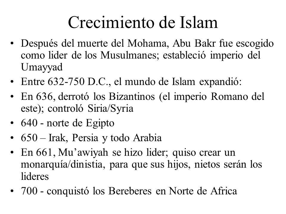 Crecimiento de Islam Después del muerte del Mohama, Abu Bakr fue escogido como lider de los Musulmanes; estableció imperio del Umayyad Entre 632-750 D.C., el mundo de Islam expandió: En 636, derrotó los Bizantinos (el imperio Romano del este); controló Siria/Syria 640 - norte de Egipto 650 – Irak, Persia y todo Arabia En 661, Muawiyah se hizo lider; quiso crear un monarquía/dinistia, para que sus hijos, nietos serán los lideres 700 - conquistó los Bereberes en Norte de Africa