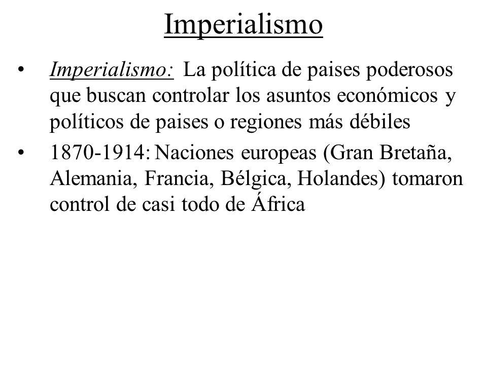 Imperialismo Imperialismo: La política de paises poderosos que buscan controlar los asuntos económicos y políticos de paises o regiones más débiles 18