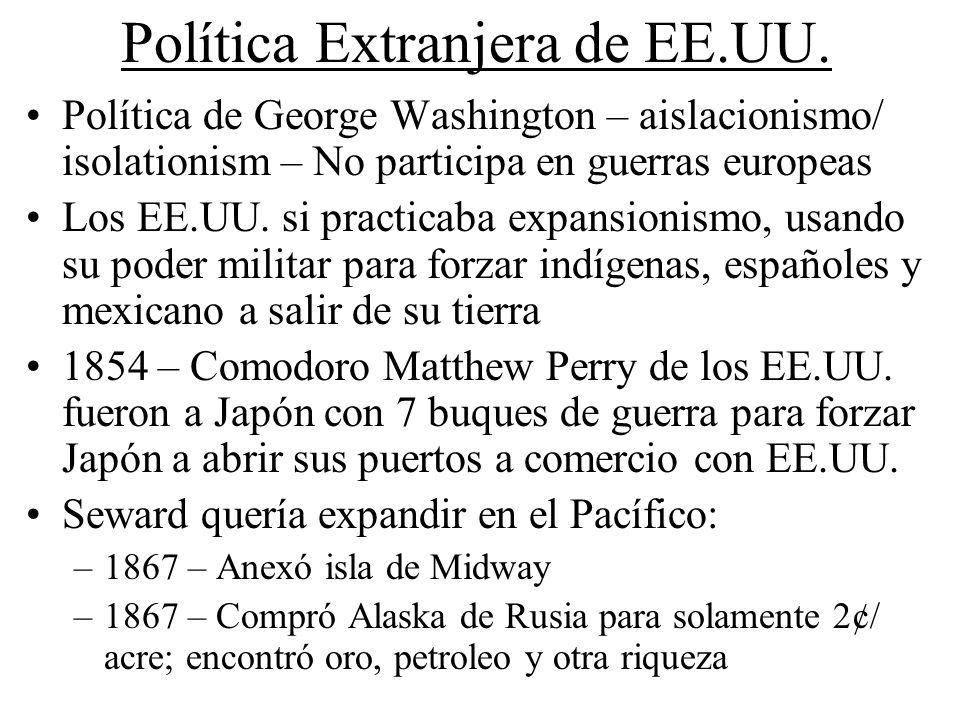 Política Extranjera de EE.UU. Política de George Washington – aislacionismo/ isolationism – No participa en guerras europeas Los EE.UU. si practicaba