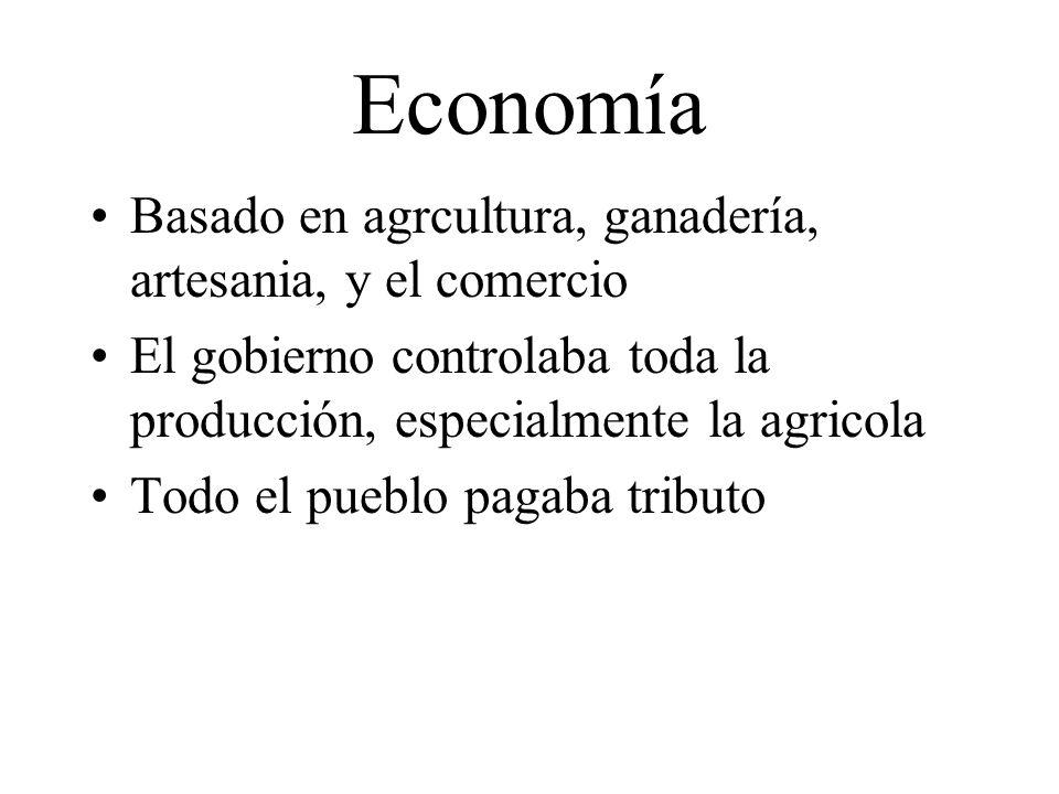 Economía Basado en agrcultura, ganadería, artesania, y el comercio El gobierno controlaba toda la producción, especialmente la agricola Todo el pueblo
